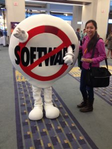 With salesforce.com's mascot, SaaSy (Software-as-a-Service)